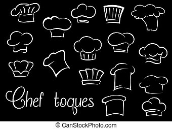 Chef toques and baker hats on black background - Various of...