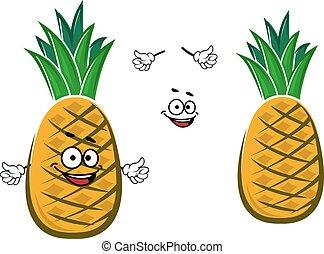 Ripe yellow pineapple fruit character - Ripe cartoon yellow...