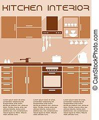 Brown and beige kitchen interior design in flat style