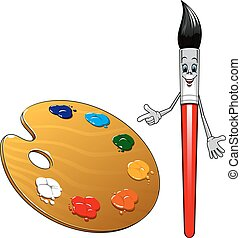 Cartoon paintbrush character with art palette