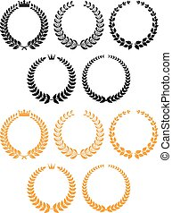 Golden and black laurel wreaths with crowns - Traditional...