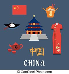 China flat travel icons, symbols and elements - China travel...