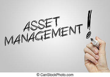Hand writing asset management on grey background