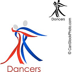 Dancing couple abstract emblem template - Dancing couple...