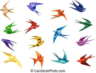 Colorful origami paper swallow birds in flight isolated on...
