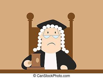 Judge passes verdict in the courtroom