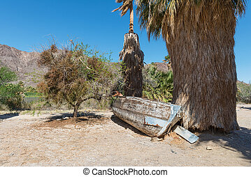 Rowboat - Beached rowboat and palm trees, Zzyzx, California