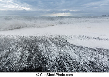 black sand beach Iceland - The black sand beach of...