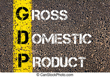 Business Acronym GDP as GROSS DOMESTIC PRODUCT. Yellow paint...