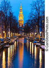 South Church Zuiderkerk Amsterdam at dusk - South Church...