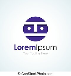 Abstract human face purple professional simple business icon...