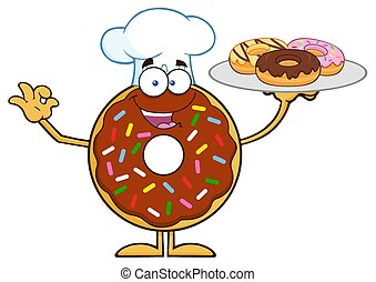 Chef Chocolate Donut Character