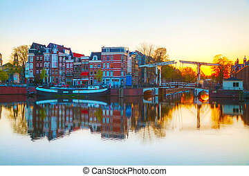 City view of Amsterdam, the Netherlands at sunrise