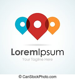 Location pin colorful and fun simple business icon logo