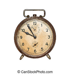 Retro alarm clock - Old, retro alarm clock isolated on white...