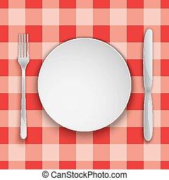 Plate and cutlery on a stripy red tablecloth