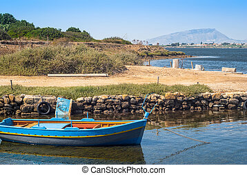 mozia harbor, in the salt marshes of marsala, Sicily, Italy