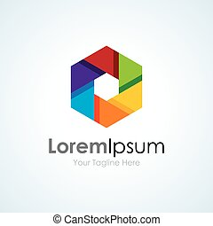 Colorful vision camera focus lens concept elements icon logo