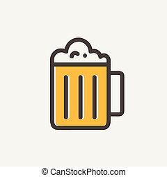 Mug of beer thin line icon