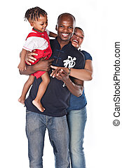 happy family - happy african american family isolated on...