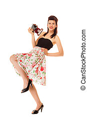 Teen girl with old camera - Beautiful photographer. Full...