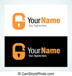 Open security lock key hole graphic design logo icon