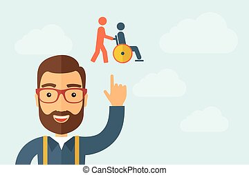 Man pointing the man pushing a friend in wheelchair icon - A...