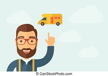 Man pointing the delivery van icon