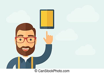 Man pointing the touch screen tablet icon - A Man pointing...