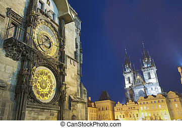night Prague - City council tower and Tyn church in Prague
