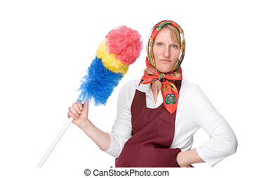 Cleaning lady - Full isolated studio picture from a pregnant...