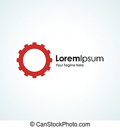 Red gear wheel spinning simple business icon logo
