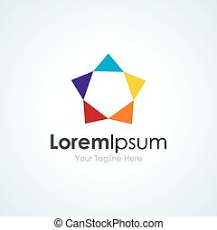 Star shape colorful simple business icon logo