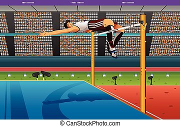 Male high jumper in midair over bar - A vector illustration...