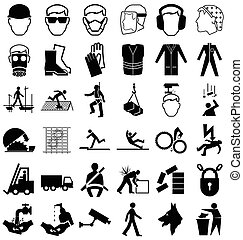 Health and Safety Graphics - Black and white construction...