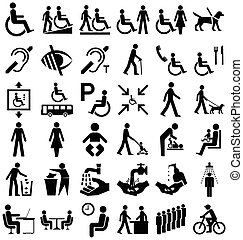 Disability and people Graphics - Black and white disability...