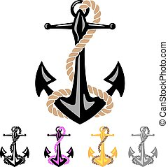 Anchor with Rope - Sharp looking ships anchor, with rope and...