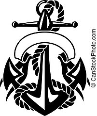Anchor with Rope and Banner - Sharp looking ships anchor,...