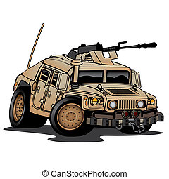 Military Truck Illustration - Military Humvee cartoon in...