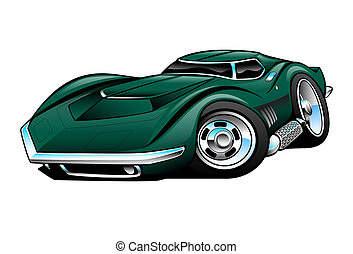 Classic American Sports Car Cartoon Illustration, mean and...
