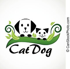 Cat and dog puppies logo - Cat and dog puppies silhouette