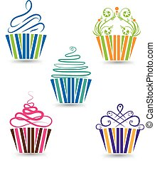 Cupcakes set  - Cupcakes stylized swirly design