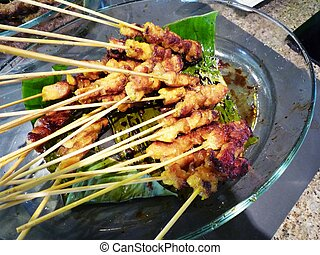Satay - Delicious and juicy malaysian satay at hotel buffer