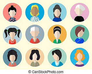 Set of circle flat icons with women Vector illustration