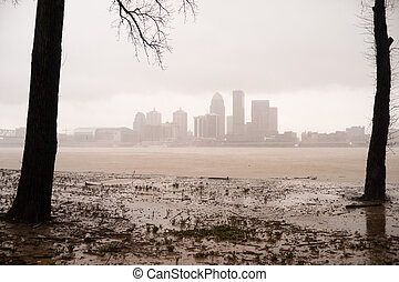 Historic Storm Flooding Ohio River Overflowing Louisville -...