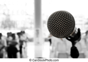 Microphone in concert hall or conference room, Black and White
