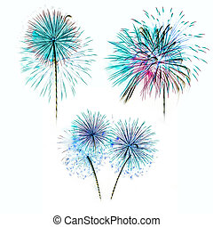 Set of colorful fireworks light on white background