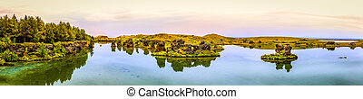 Lake Myvatn - Panoramic view of Lake Myvatn in Northern...