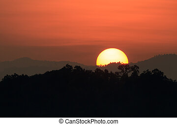 Silhouette of the mountains at sunset