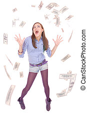 Beautiful woman on white background with hundred dollars...